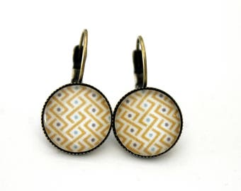 """Small earrings cabochon """"yellow and turquoise braid"""" Stud Earrings - vintage retro brass"""