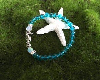 Summer Dreams Sky Blue Quartz Seahorse Yoga Stretch bracelet - Healing bracelet - Fantasy Bracelet - Boho Bracelet