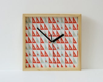 Pine wood & Fabric Wall Clock Silent No Ticking Handmade