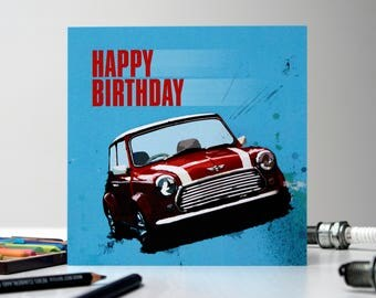 The Mini Cooper, Happy Birthday Card, Boys Card, Card For Him, Card For Men, Boyfriend Card, Husband Card