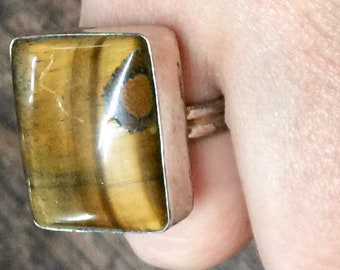 Tiger Eye + Sterling Silver 925 Statement Ring Size 7