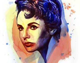 The power of color - Elizabeth Taylor  Watercolor portrait Modern style hand-painted