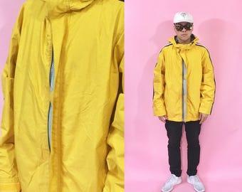 Vintage windbreaker hoodie yellow jacket the gap y2k jacket 1990s 1980s 90s 80s
