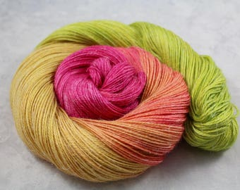 Trippy Tulips - READY TO SHIP- 100g Fingering Yarn -50/25/25 Baby Alpaca/Linen/Silk 438yd- Hand Dyed, Hand Painted - pink, green, yellow