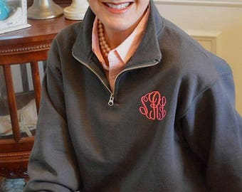 Monogrammed Quarter Zip Pullover- NOW Sizes Up TO 3X