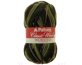 FOREST Patons Classic Wool yarn, Multi Color Wool, Green Brown Variegated yarn, Camo Colors. Camouflage wool Pure wool. Felting. 3.5oz 100g