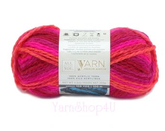 SALE! BRIGHT POP Ombre (Same as Charisma!) Bulky Weight. All Things You Yarn. Pink, Red, Coral Yarn. 3.5oz 109yds. Soft Bulky Variegate look