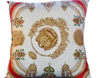 """Large Vintage Hermes Scarf Pillow JA Badie """"KOSMIMA"""" iwj4473-1"""