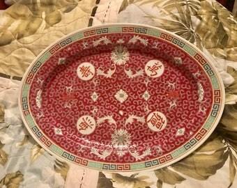 Zhonggu Jingdezhen Chinese Mun Shou Longevity Famille Rose Serving Platter, Chinese Famille Rose Serving Platter