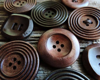 Solid Wood Button | Add-On For Jute Baskets | Custom Decorative Wood Buttons Wrapped With Waxed Cord, Made to Order