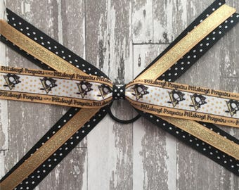 Pittsburgh Penguins hair bow - pittaburg pens bow - pittaburgh pens hockey - Pittsburgh hockey