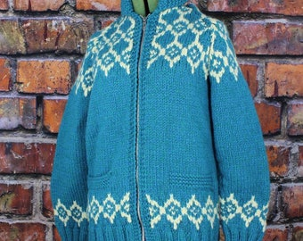 Blue and White Hand Knit Vintage Cowichan Curling Sweater