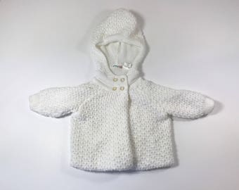 Vintage White Crochet Baby Sweater Coat, 9 months