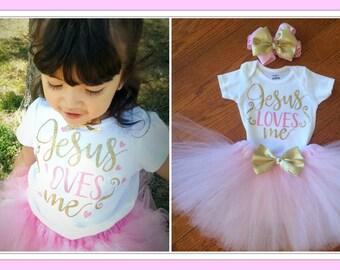 Jesus Loves Me, Baby gift set, First Birthday set,  ONE birthday