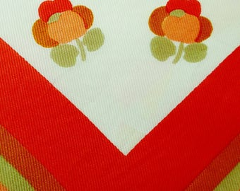 Vintage 1960s Orange and Green Floral Print Square Scarf