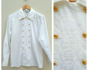 Vintage ESCADA White long sleeve shirt with embroidered Margaretha Ley Size 34 Made in Germany.