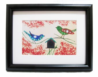 Colourful Love Birds - Art print From Original painting with Frame