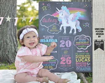 """Custom UNICORN pegesus and rainbow chalkboard style first or any age birthday milestone poster. 18 x 24"""" digital file poster, sign"""
