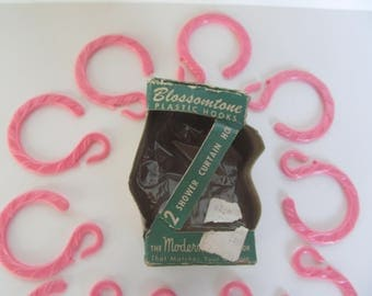 Shower Curtain Rings  -  Vintage Pink ShowerRings  -  11 pieces