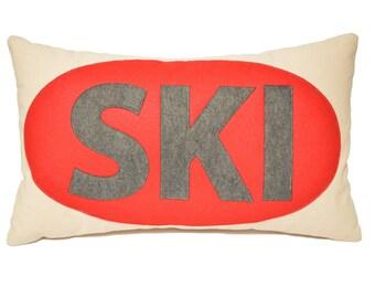 "14x21"" SKI decorative throw pillow,  Red and Grey, Ski Lodge, Ski Lift, Ski Pillow, Ski Slope, Winter Home Decor, The Salty Cottage"