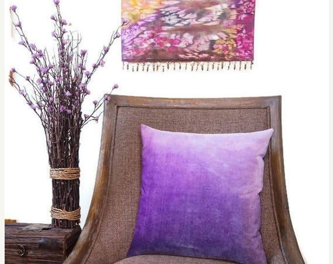 SALE Velvet Pillow Cover 18x18-Purple Watercolor Ombre Pillow-Bohemian Decor-Gift