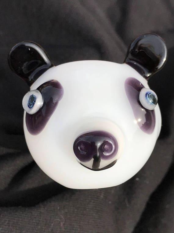 Glass Pipe Panda In Purple