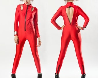 TRINITY CATSUIT - Red Spandex Cutouts Cyber Futuristic Jumpsuit Festival Burning Man Club EDM Raver Dance Costume Cosplay Stage Cyberpunk