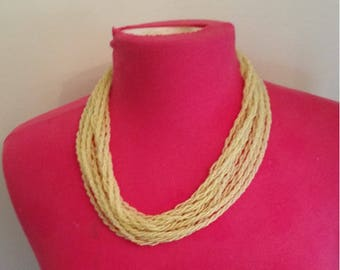Vintage Multi-strand Yellow Beaded Necklace