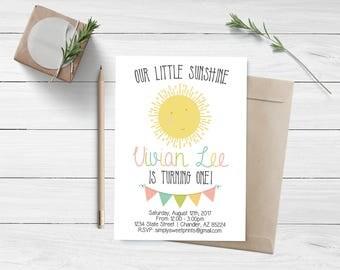 Our Little Sunshine First Birthday Invitation, Sunshine Birthday, Little Sunshine, You Are My Sunshine, First Birthday Invitation