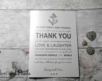 Wedding Thank-You card. Personalised Wedding Thank You Card.Handmade Beach/Sea/Sun Wedding Thank You Card with an Anchor.