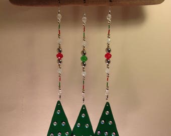 Christmas, Christmas tree, wind chime, stained glass, beads, wood