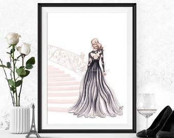 Fashion illustration print, Fashion art, girl art, girls room art, fashion print, vanity art, watercolor, girly art - The Golden Staircase