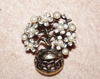 50's 60's Brooch Vintage Tree Pearls Rhinestones