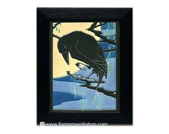"Raven (Midnight), Framed 6"" x 8"" Motawi Tile, Yoshiko Yamamoto Design"