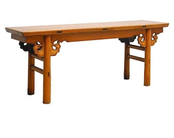 19th Century Chinese Carved Wooden Bench