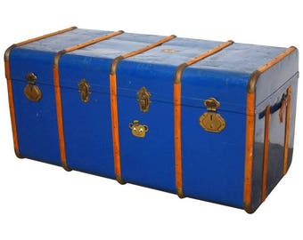 French Blue Traveling Trunk with Wood Strapping