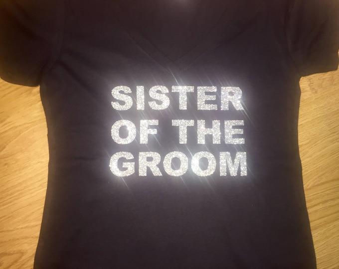 Bridesmaid getting ready shirts. Bridal party tees. Wedding t-shirts. Bridesmaid , bride , Sister of the Groom silver glitter shirt.