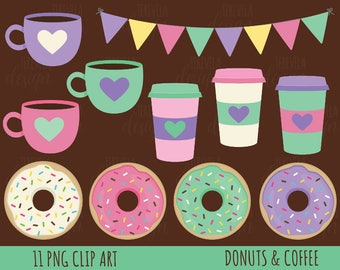 50% SALE Coffe and donut clipart, donuts clipart, coffee clipart, commercial use, cute clipart, dessert clip art