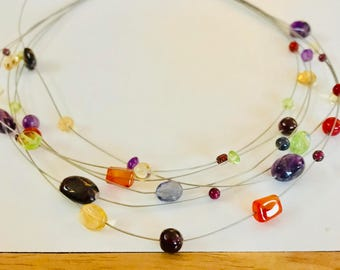 Coloured multi stone necklace