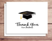 Graduation Note Cards - Grad Cap Folded Note Cards - Graduation Stationery - Grad Thank You Notes - Grad Note Cards