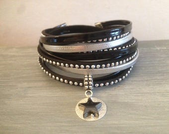 Multi strand black and silver rhinestones and star suede leather Cuff Bracelet