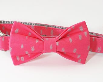 Pink and Silver Dots Dog Collar Bow Tie set with metal hardware, pet bow tie, collar bow tie, wedding bow tie