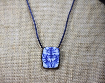 Blue and White Pendant-Polymer Clay Necklace-