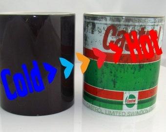 Castrol Oil Cup Retro Motorcycle Car Mechanic Vintage Colour Changing Castol Motor Oil Mug Christmas Gift Idea Christmas Gift Idea