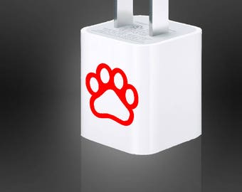 Pet Paw Cat Dog Decal Vinyl Die Cut + USB Wall Adapter Charger Cell Phone