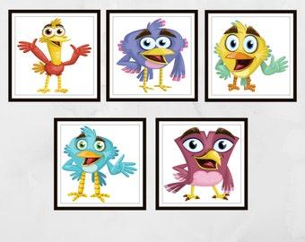 Set of 5 cartoon bird prints, Nursery wall art, Nursery prints, nursery decor, Kids wall art, kids bedroom art, children's wall art