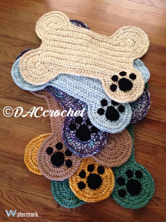 Crochet Pattern Dog Bone Placemat Rug Pet Food Floor Mat