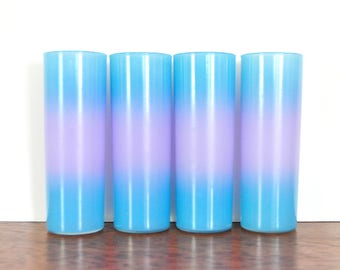 Vintage Blue and Purple Ombre Blendo Tall Glasses, Set of Four, Tall Water Glasses