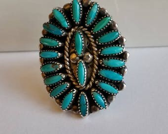 Vintage Sterling Silver and Turquoise Cluster Ring Signed JS Native American Size 9
