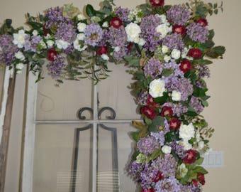 Floral Arch, Wedding Arch, Silk Flower Arch, Purple arch, silk wedding arch, wedding arbor,